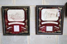 Chateau Latour and Haut Brion, two framed prints, 42 x 47cm