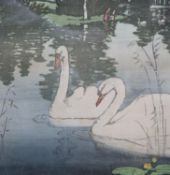Allen William seaby (1863-1957), wood engraving, Swans on a lake, signed in pencil and numbered