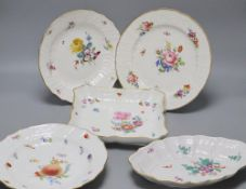 A quantity of 19th / 20th century Meissen flower painted plates or dishesCONDITION: Some light
