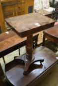 A Victorian rosewood and mahogany work table, width 54cm including sconces, depth 55cm, height 76cm