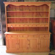 A Victorian style pine dresser, width 182cm, depth 42cm, height 200cm