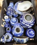 A group of Chinese blue and white porcelain prunus blossom table wares