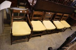 A harlequin set of 8 Regency elm and fruitwood dining chairs and a Regency elbow chair