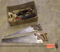 Miscellaneous hand tools: - two Stanley and Record wheel braces (record brace has bit storage in the