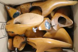 A collection of wooden shoe trees