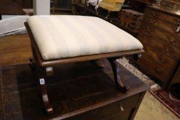 A Victorian mahogany X frame dressing stool, width 59cm, depth 54cm, height 40cm