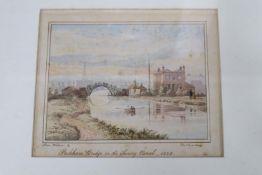Thomas Lindsay (1793-1861), watercolour, Peckham Bridge on the Surrey canal 1828, signed, 12 x 15cm
