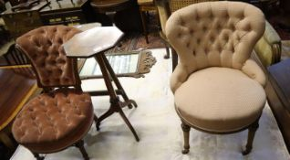 A Victorian walnut buttonback chair and a kettle stand, and another chair