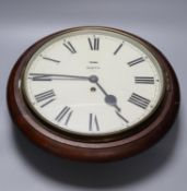 A Victorian-style Smiths dial wall clock, 28cm dial, mahogany surround