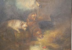 After George Armfield, oil on canvas, Terriers beside a rabbit hole, bears signature, 30 x 40cm