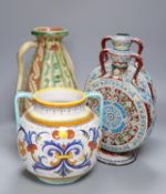 A pair of Isnik inspired pottery moon flasks, 30cm and an Italian pottery vase and another