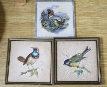 Two Rosenthal Keramik bird-printed tiles, and a similar prattware tile