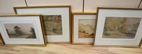 G. E. Lees, River landscapes with cottages, watercolour, a pair, 23 x 33cm and sundry pictures