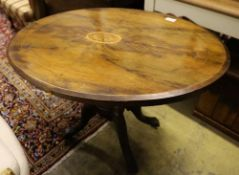 A Victorian inlaid walnut oval topped tea table, width 104cm, depth 72cm, height 71cm, no bolts