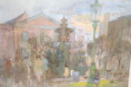 Frederick Wills (1901-1993), gouache, Figures in a town square, Hicks Gallery label verso, 37 x