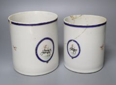 Two late 18th century Chinese export mugs, tallest 14cm (a.f.)