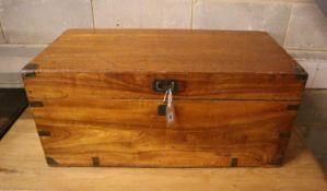 A small brass bound camphorwood trunk, width 84cm, depth 41cm, height 38cm