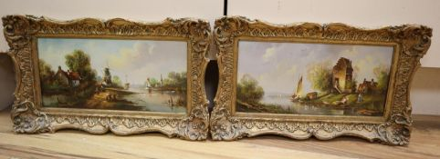 W. E. Van Groot (20th century Dutch School), river scene and companion piece, signed, oil on
