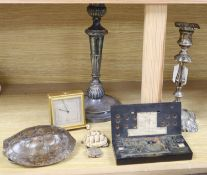 A Victorian Sheffield plate candlestick, one other, a set of Herbertz Guinea scales, a small