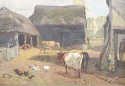 Charles Collins (1851-1921) oil on canvas, Cows, ducks and chickens in a farmyard, signed and