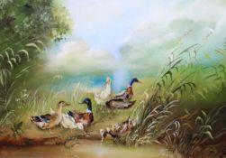 Continental School, Mallard ducks by the waters edge, oil on board, 11 x 16cm, in decorative frame