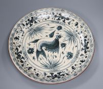An Annamese style blue and white dish, diameter 35cm