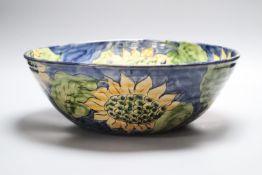 A Paul Jackson studio pottery Sunflower bowl, signed, diameter 36cm