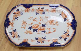An Ironstone meat plate, with blind stamp to reverse, length 60cm