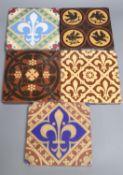 Five encaustic ceramic tiles including A.W.N. Pugin, 15cm, ex Peter Creffield Collection