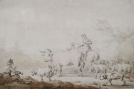 Attributed to Philip James de Loutherbourg (1740-1812), ink and watercolour, Drover on a lane, bears