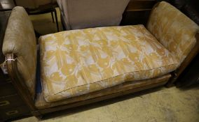A Biedermeier style upholstered day bed, width 158cm depth 80cm height 84cm