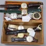 A collection of eight assorted gentleman's wrist watches including Onsa, Tissot, Mathias chronograph