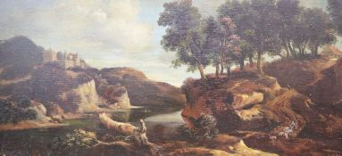 Van de Lughen, oil on wooden panel, Wooded river landscape with figures, 17 x 35cm