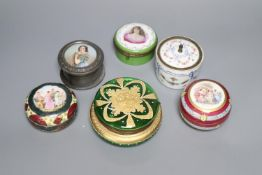 Six 19th century Continental circular trinket boxes, each covered, largest 13cm