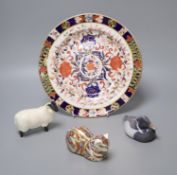 A Crown Derby dish, diameter 26.5cm, a Beswick ram, a Royal Crown Derby flask in the form of a cat