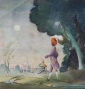 Albert Runciman-Cummings (1936-), watercolour, Morning Encounter, signed, 18 x 18cm