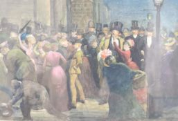 William Strutt (1825-1915), watercolour, Suffragettes protesting in a crowd of gentleman,