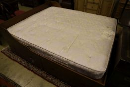 Jans of London. A reproduction mahogany campaign style double bed frame and mattress, folding top