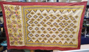 A 1920's large Egyptian-style embroidered wall hanging and a similar smaller hanging, 240 x 122cm (