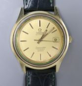 A gentleman's 1970's? steel and gold plated Omega Seamaster Cosmic 2000 automatic wrist watch, on