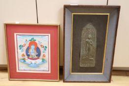 A Thai bronze votive plaque and a Tibetan thangka painting