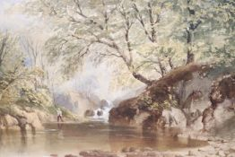 Cornelius Pearson (1805-1891), watercolour, Angler beside a wooded stream, signed and dated 1851, 23