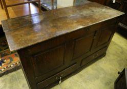 An 18th century oak mule chest, width 146cm depth 55cm height 80cm