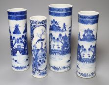 A pair and two other 19th century Chinese blue and white sleeve vases, three bear Kangxi mark,