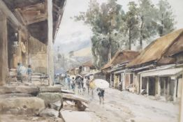 "John Varley Junior (c.1850-1899), watercolour, ""A Rainy Day in Nikko Street, Japan"", signed and"
