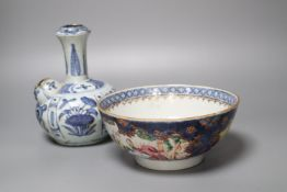 A Chinese late Ming blue and white kendi and an 18th century Chinese 'Mandarin' bowl, bowl 20cm