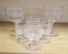 A matched group of six goblets and wine glasses, all engraved with hunting scenes, goblets 17.5cm