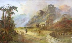W. Richards, oil on canvas, Shepherd and flock passing a cottage, signed, 29 x 49cm