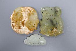 Three Chinese jade or hardstone plaques, 5.2 - 7.4cm