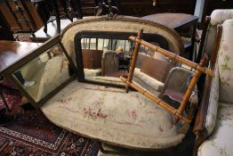 A late Victorian simulated bamboo wall mirror and two others, largest 84 x 50cm